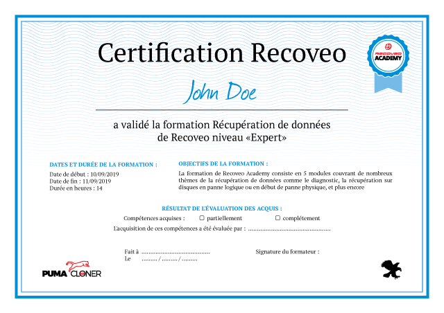 certificat recoveo academy
